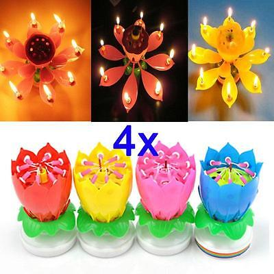 Romantic Happy Birthday Music Play Lotus Candle Magic Musical Candle Flower