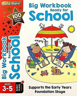 Ready For School Workbook Age 3-5 Children's Kids Gold Stars Stickers New