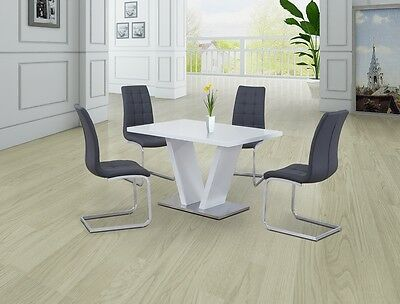 CONTEMPORARY WHITE HIGH GLOSS WITH WHITE GLASS DINING SET WITH 4x GREY CHAIRS,