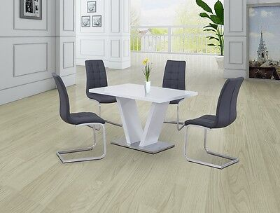 CONTEMPORARY WHITE HIGH GLOSS DINING SET WITH 4x GREY CHAIRS,