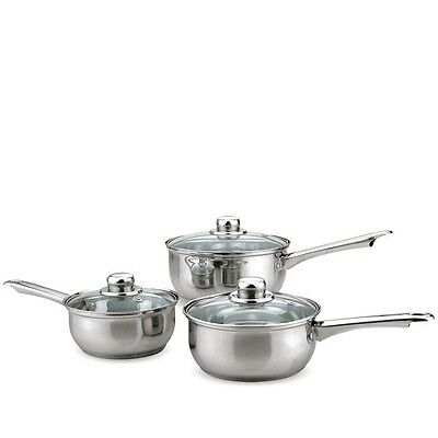 3 pc Stainless Steel Pan Set Tapered Vent Glass Lids