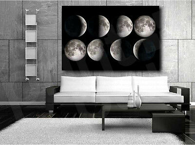 Moon Phases Collage Black and White Canvas Art Poster Print Home Wall Decor