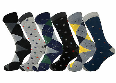 6 Pair Royal Classic Argyle Formal Fashion Mens Dress Socks 10-13 Cotton Blend