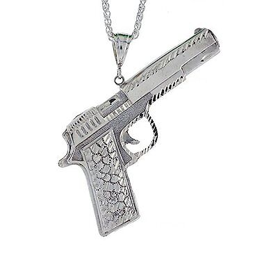 Sterling Silver Colt 45 Pistol Pendant, 3 3/4 inch tall