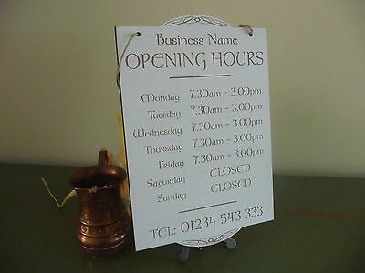 Opening Times Sign Shop Window Hanging Wooden Celtic Open Closed Distressed
