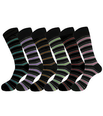 6 Pk Striped Pattern Men Women Dress Socks Size 10-13 Cotton Formal Socks