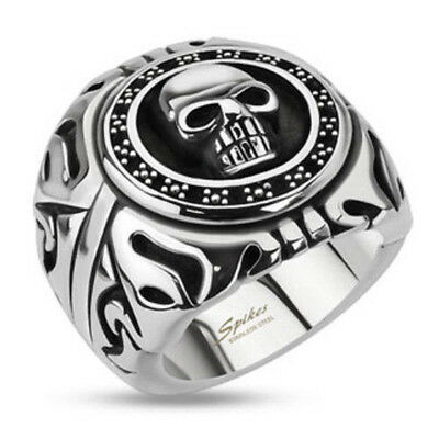 Wide Cast Skull Shield Stainless Steel Mens Goth Biker Ring Sizes 9-15 (FL293)