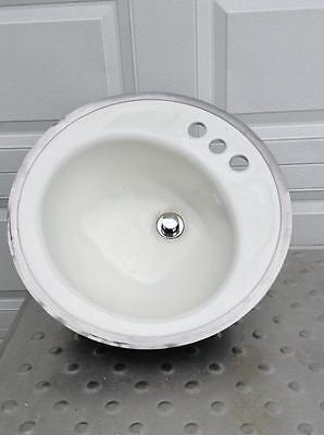 Vintage Cast Iron Enameled Sink Bowl #18 I-3540 (J-F)