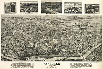 1912 Panoramic Map of Asheville Buncombe County North Carolina