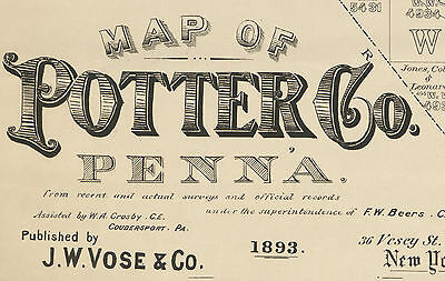 1893 Farm Line Map of Potter County Pa from actual surveys