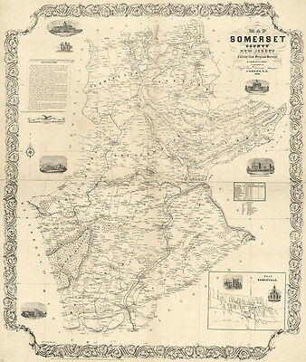 1850 Map of Somerset County New Jersey from original surveys