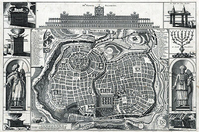 1770 Map of the City of Jerusalem Israel