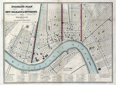 1845 Map of New Orleans Louisiana