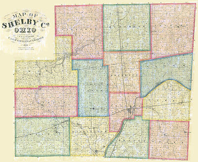 1865 Farm Line Map of Shelby County Ohio