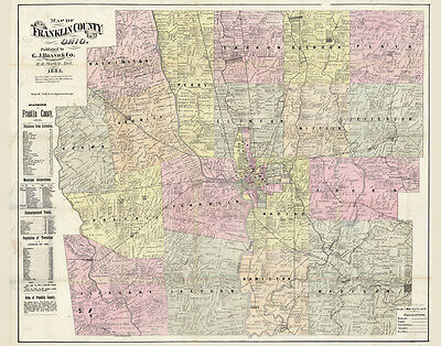 1883 Farm Line Map of Franklin County Ohio Columbus