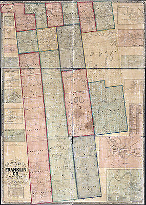 1858 Farm Line Map of Franklin County New York from actual surveys