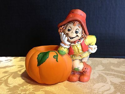 Vintage Lefton China Handpainted Scarecrow w/ Pumpkin Halloween Candle Holder
