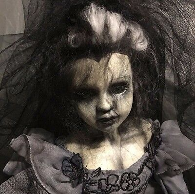 GOTHIC BRIDE #12 GHOST Haunted OOAK Assemblage Art PORCELAIN DOLL Zombie LAMP