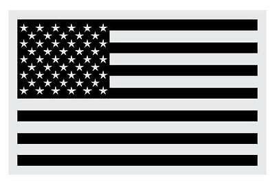 "Black American Flag Very Small Reflective Helmet Decal (1.25"" & 2"" approx)"