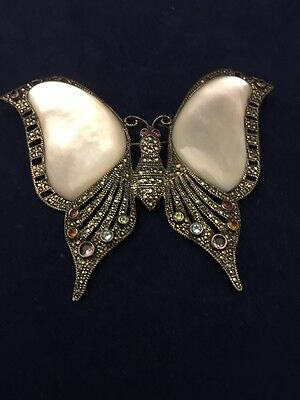 Large Vintage Sterling Silver Marcasite Mother Of Pearl Butterfly Brooch Pin
