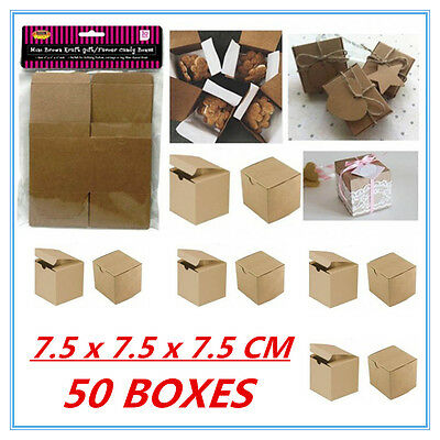 50 Pack Mini Small Brown Kraft Paper Gift/favor Boxes Candy Lolly Party Favour A