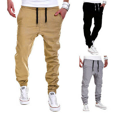 New Fashionable Men Male Casual Solid Pants Sweatpants Jogger Pocket Trousers GT