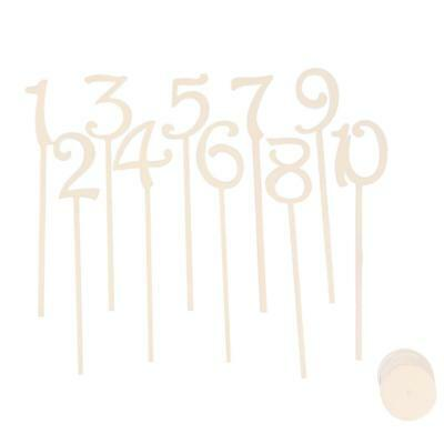 20 Freestanding Unfinished Wood Table Numbers Stick Set For Wedding Birthday