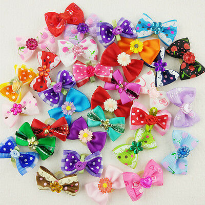 10-100pcs Wholesale Multicolor Mix Pet Dog Hair Bow Flowers Flat Rubber Bands