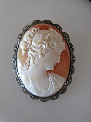 Antique Hand Carved Shell Cameo 800 Silver Marcasite Frame Signed by Artist