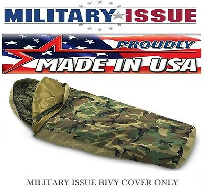 NEW Military Issue Sleeping Bag Bivy Cover For MSS Woodland Camouflage (NEW