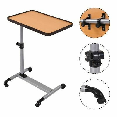 Rolling Adjustable Overbed Table Laptop Desk Food Tray Hospital w/ Tilting Top