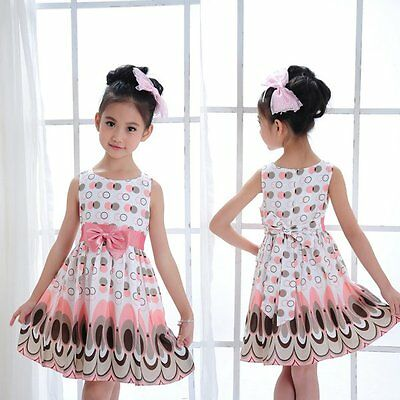 Pretty Baby Kids Girl Dress Princess Party Bow Belt Bubble Peacock Dress Clothes