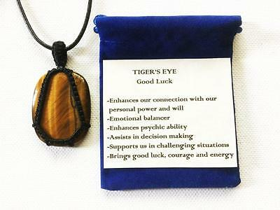 Tiger's Eye Pendant Crystal Gemstone Necklace, Adjustable Cord, Velvet Pouch