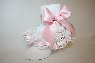Girls White Nylon & Lace Bobby Socks with Light Pink Ribbon Trim and Bows