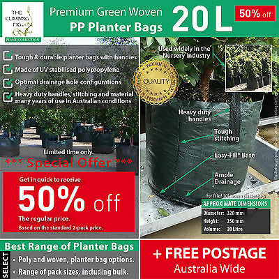 20 Litre Woven Grow / Planter Bags. Great for tree plant shrub. 50% OFF SPECIAL.