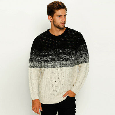 New Skylark Cable Crew Knit Jumper in Black | Mens Mens Jumpers