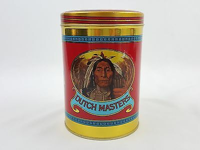 Vintage Round Dutch Masters Cigar Tin Native American Indian Chief