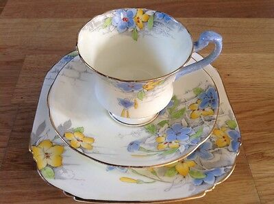 REDUCED Royal  Paragon Art Deco,10 Trios Pattern 9747 Blue&Yellow Floral Sprays