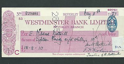 wbc. - CHEQUE - CH812 -  USED -1937/38 - WESTMINSTER BANK, BEVERLEY