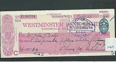 wbc. - CHEQUE - CH849 -  USED -1940 - WESTMINSTER BANK, TUNBRIDGE WELLS