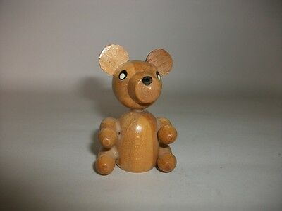 Vintage Miniature Wooden Carved Bear Ornament - Made in Spain - I6
