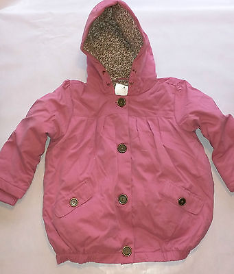 BNWT Next Girls Light Pink Hooded Coat Jacket Green Lined Floral Ditsy