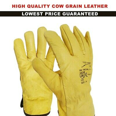 1 10 Pairs Soft Leather Lorry Drivers Safety Work Gloves DIY Quality Mens Driver