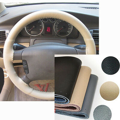 3 Colors Leather Car Steering Wheel Cover Hand Sewing Comfort Non-slip 36 - 38cm