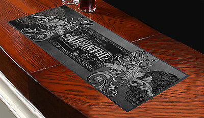 ABSINTHE & SKULLS DESIGN Bar Towel Runner Pub Party Mat Beer Cocktail Gift Club