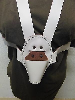 NEW White Leather Parade Flag Belt Harness (A2376)