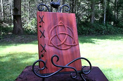 Small Customizable Wood & Leather Blank Journal, Book of Shadows - Triquetra