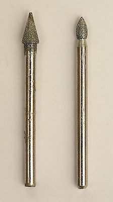 """Set of 2 Conical Diamond Grinding Burr 1/8"""" 3mm Shank For Dremel Rotary Tool New"""