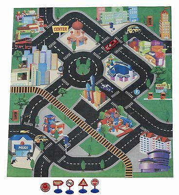 Colourful Kid's City Play Mat Fun Town Cars Playset Village Road Rug Diecast