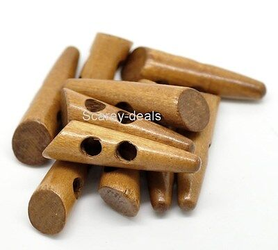 50mm Large 5x Coffee HORN wooden toggle buttons 5cm DUFFLE COAT 1ST CLASS POST